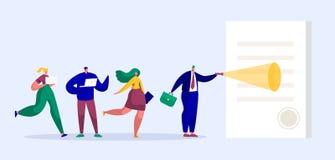 Hombre de negocios Character Reading Contract con el sello Team People Looking gigante en la linterna de papel de la plantilla de ilustración del vector