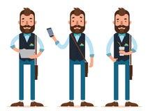 Hombre de negocios Characters El hombre se coloca con la tableta digital, hombre con el teléfono, hombre con el vidrio de café libre illustration