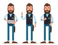 Hombre de negocios Characters El hombre se coloca con la tableta digital, hombre que detiene el dedo índice, autorización de la m Fotos de archivo