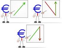 Hombre de negocios With Charts de la cabeza del dinero de la historieta Imagen de archivo
