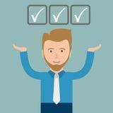Hombre de negocios Checklist de la historieta ilustración del vector