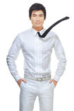 Hombre de negocios chino elegante, hermoso en blanco Imágenes de archivo libres de regalías