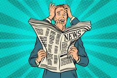 Hombre de negocios chocado por las malas noticias, muchas manos ilustración del vector