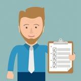 Hombre de negocios Clipboard Checklist de la historieta stock de ilustración