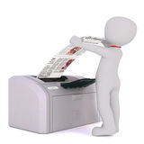 Hombre de negocios Collecting Print de la historieta de la impresora Imagen de archivo