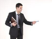Hombre de negocios con agenda fotografía de archivo