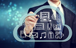 Hombre de negocios con concepto computacional de la nube Fotografía de archivo libre de regalías
