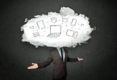Hombre de negocios con concepto de la cabeza de la red de la nube Fotografía de archivo