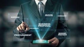 Hombre de negocios con concepto del holograma de la solicitud de oferta del RFP stock de ilustración