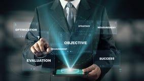 Hombre de negocios con concepto del holograma del indicador de rendimiento clave de KPI almacen de video