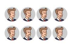 Hombre de negocios con diversas emociones Un emoji barbudo del oficinista del hombre Ejemplo del vector en estilo de la historiet ilustración del vector