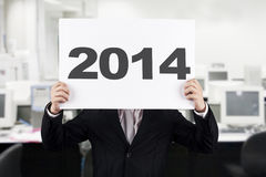 Hombre de negocios con el Año Nuevo 2014 Fotografía de archivo
