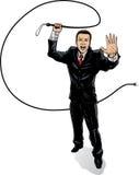 Hombre de negocios con el azote Foto de archivo libre de regalías