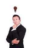 Hombre de negocios con el bulbo del café sobre su cabeza Fotos de archivo