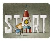 Hombre de negocios con el comienzo de la palabra y un cohete stock de ilustración