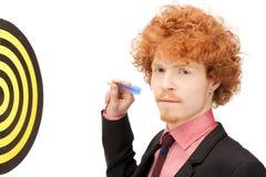 Hombre de negocios con el dardo y la blanco Imagen de archivo libre de regalías