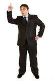 Hombre de negocios con el dedo rised. Gesto de la idea Imágenes de archivo libres de regalías