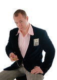 Hombre de negocios con el dinero y el reloj viejo Imágenes de archivo libres de regalías