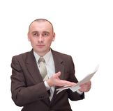 Hombre de negocios con el documento Imagen de archivo libre de regalías