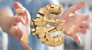 Hombre de negocios con el estallido de la representación euro de la moneda 3D Fotografía de archivo