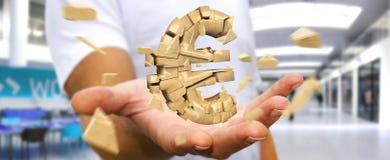 Hombre de negocios con el estallido de la representación euro de la moneda 3D Foto de archivo