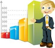 Hombre de negocios con el gráfico de barra Foto de archivo libre de regalías