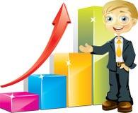 Hombre de negocios con el gráfico de barra positivo Foto de archivo libre de regalías