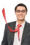Hombre de negocios con el lazo rojo foto de archivo libre de regalías