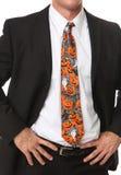 Hombre de negocios con el lazo temático de Víspera de Todos los Santos Foto de archivo
