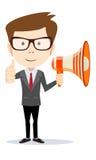 Hombre de negocios con el megáfono Imagen de archivo libre de regalías