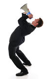 Hombre de negocios con el megáfono Fotos de archivo libres de regalías