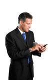 Hombre de negocios con el palmtop imágenes de archivo libres de regalías