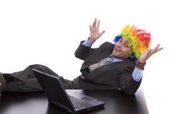 Hombre de negocios con el pelo del payaso Fotos de archivo libres de regalías