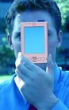Hombre de negocios con el piloto de palma foto de archivo libre de regalías