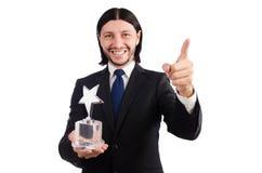 Hombre de negocios con el premio de la estrella Fotos de archivo libres de regalías
