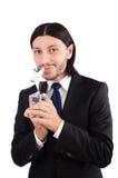 Hombre de negocios con el premio de la estrella aislado Foto de archivo libre de regalías