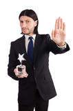 Hombre de negocios con el premio de la estrella aislado Imagen de archivo libre de regalías