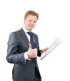 Hombre de negocios con el pulgar para arriba Fotografía de archivo