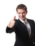Hombre de negocios con el pulgar para arriba Imágenes de archivo libres de regalías
