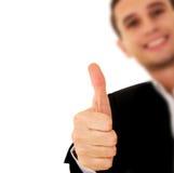 Hombre de negocios con el pulgar para arriba Fotos de archivo libres de regalías