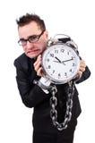 Hombre de negocios con el reloj aislado Imágenes de archivo libres de regalías