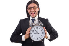 Hombre de negocios con el reloj aislado Foto de archivo libre de regalías