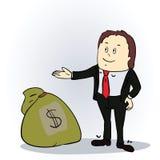 Hombre de negocios con el saco de dinero Vector Foto de archivo