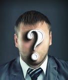 Hombre de negocios con el signo de interrogación Imágenes de archivo libres de regalías