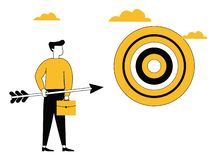 Hombre de negocios con el tablero de la flecha y de la blanco ilustración del vector