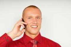 Hombre de negocios con el teléfono Fotografía de archivo