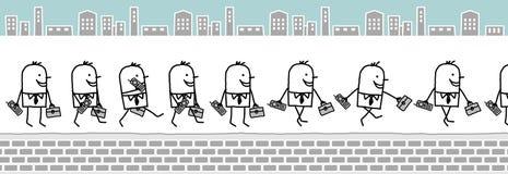 Hombre de negocios con el teléfono celular y la carpeta ilustración del vector