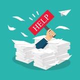 Hombre de negocios con exceso de trabajo debajo de una pila de papel, documentos holding libre illustration