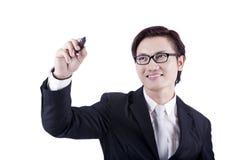 Hombre de negocios con gesto del gráfico Fotografía de archivo libre de regalías