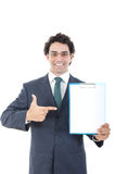 Hombre de negocios con la bandera en blanco Lugar para el texto Fotos de archivo